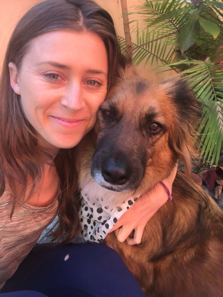 Woman and Dog with spotted bandana
